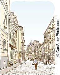 antigüidade, verão, cidade, rua., paisagem., europeu