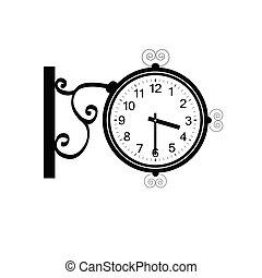 antigüidade, vetorial, pretas, beleza, relógio