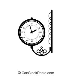 antigüidade, vetorial, pretas, relógio