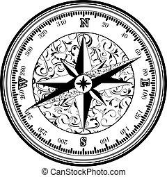 antigüidade, vinatge, compasso