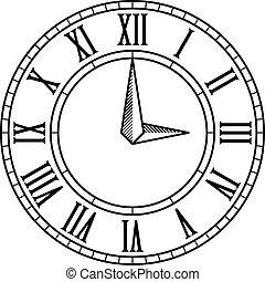 antigüidade, vindima, vetorial, rosto relógio