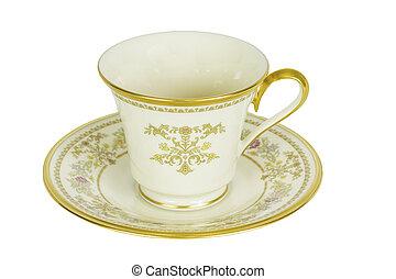 antigüidade, xícara chá, e, pires, isolado