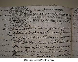 antiga, antigas, municipal, manuscrito, século, arquivo, xviii