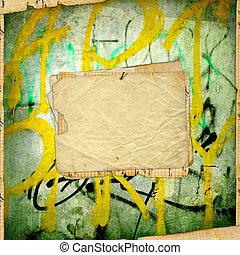antiga, antigas, parede, papel, graffiti, grunge