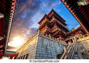 antiga, arquitetura, chinês