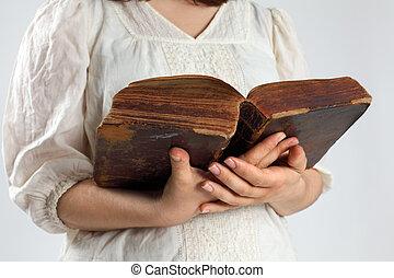 antiga, bíblia, leitura