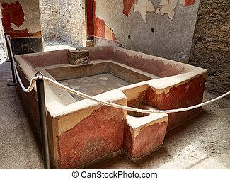 antiga, banho, em, pompeii, itália