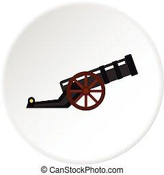 antiga, canhão, ícone, círculo