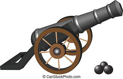 antiga, canhão