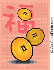 antiga, chinês, moedas, ilustração, vetorial, oriental, ano, novo