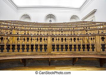 antiga, ciência, room., universidade, museu, portugal, coimbra, conferência