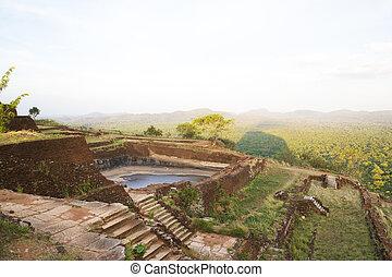 antiga, cisterna, em, sigiriya, sri lanka