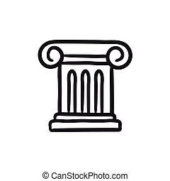 antiga, coluna, esboço, icon.