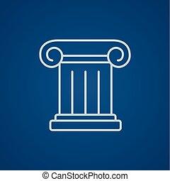 antiga, coluna, linha, icon.