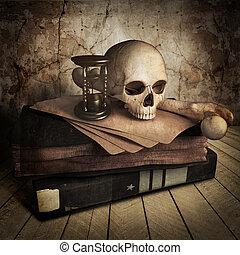 antiga, cranio, com, livros