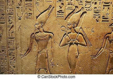 antiga, egípcio, escrita