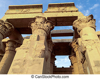 antiga, estátuas, egito, ruínas, templo, colunas