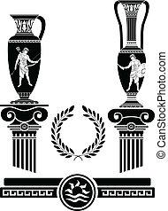 antiga, estêncil, jarros, colunas