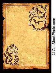 antiga, folha, pergaminho