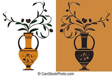 antiga, grego, ânfora