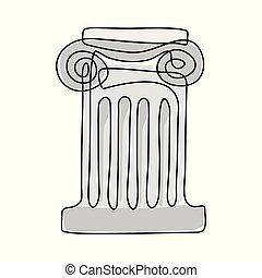 antiga, grego, column.