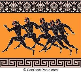 antiga, grego, figuras
