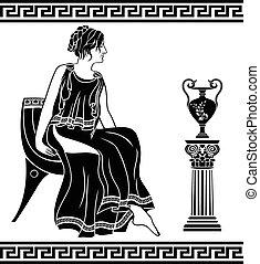 antiga, grego, mulher