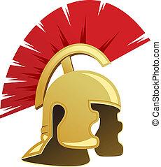 antiga, guerreira, capacete