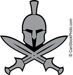 antiga, hellenic, capacete, e, espadas