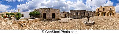 antiga, ilha, Grécia,  crete,  aptera, ruínas