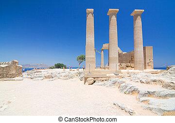 antiga, ilha,  Lindos,  rhodes, Grécia, Templo, ruínas