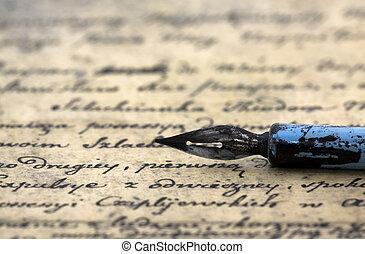 antiga, letra, e, caneta