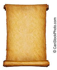 antiga, manuscrito, isolado, sobre, um, fundo branco