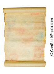 antiga, manuscrito, sobre, isolado, fundo, branca