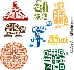 antiga, mayan, e, aztec, totens, ou, sinais