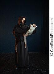 antiga, medieval, manuscrito, monge, lê, oração