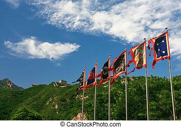 antiga, militar, bandeiras, em, a, grande, wal