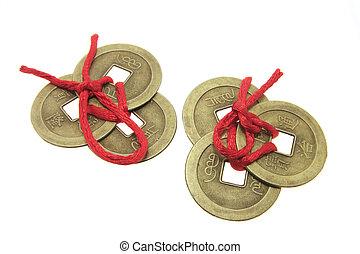 antiga, moedas, chinês