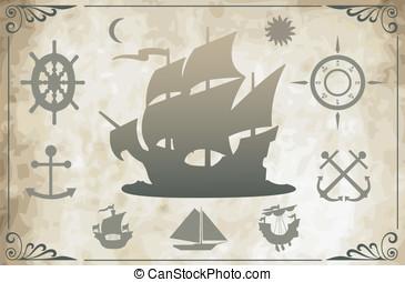 antiga, navios, vetorial