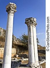 antiga, norte, área, local, pilares, grego, arqueológico, grécia, fillipous