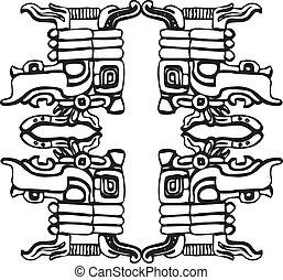 antiga, padrão, ilustração