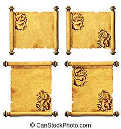 antiga, parchments, cobrança
