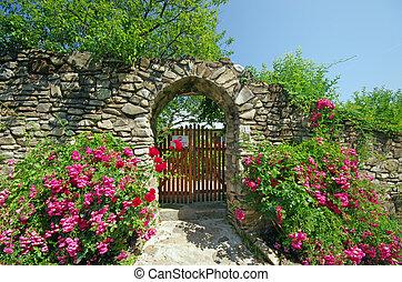antiga, parede, com, flores