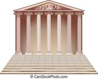 antiga, predios, com, ionic, columns.