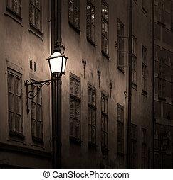 antiga, predios, com, lanterna