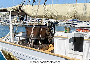 antiga, recipiente velejando