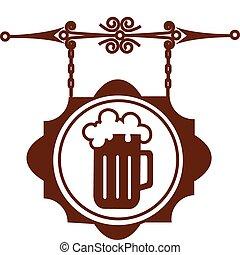 antiga, rua, casa, signboard, ilustração, ou, cerveja,...