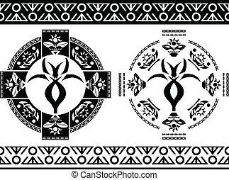 antiga, símbolos, e, borders., stenci