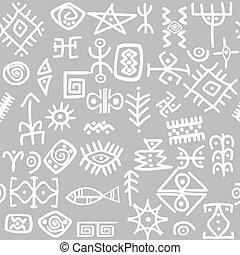 antiga, símbolos, jogo, seamless