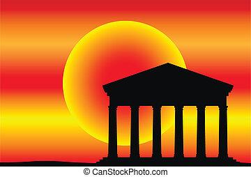antiga, templo, em, a, pôr do sol